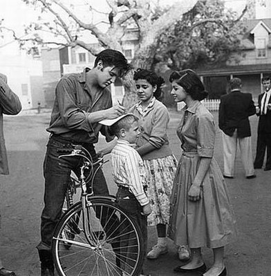 Elvis Presley on a bike