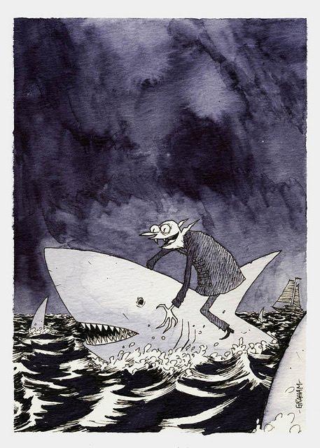 Vampire riding shark