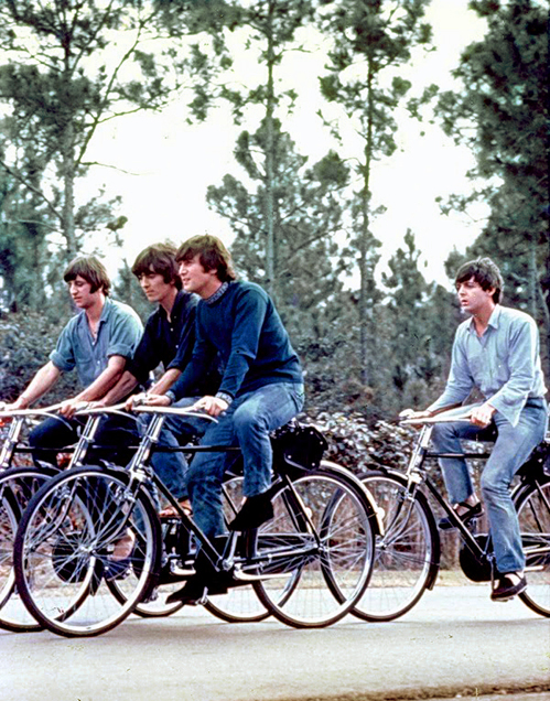 The Beatles on bikes