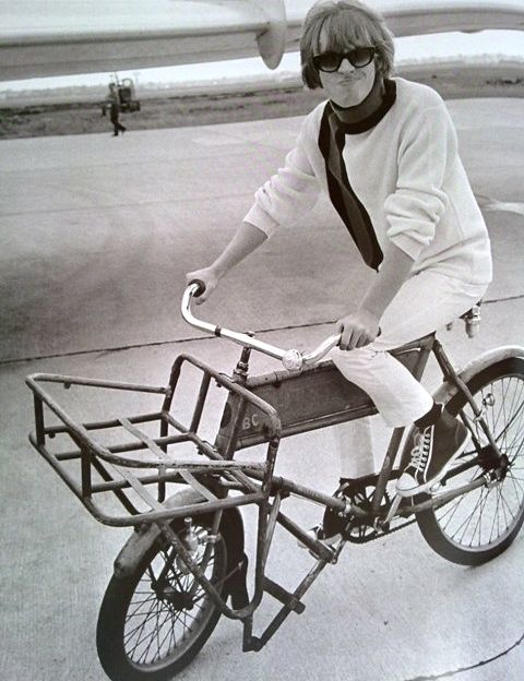 Brian Jones rides a bike
