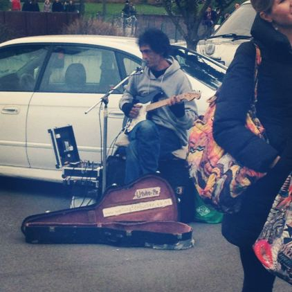 guitar man at Chaffers Market