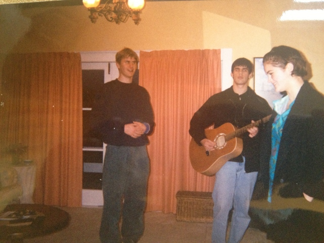 My brother JP, his friend Raj (with guitar), me