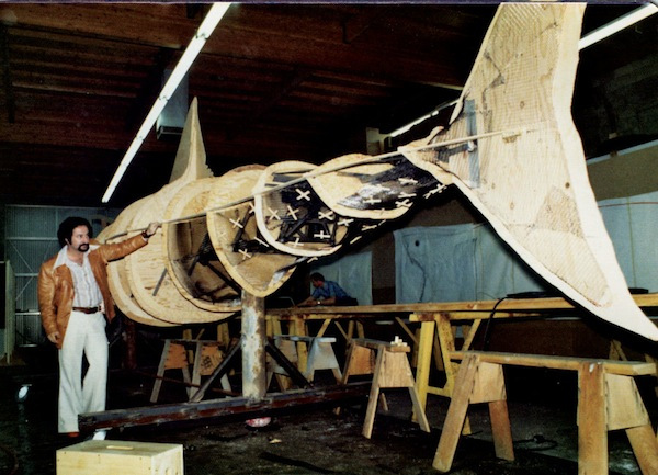 Construction of the Jaws shark © 1974 Joe Alves/Courtesy of Moonrise Media (via FlavorWire)