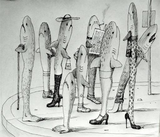 Waiting sharks by Franco Matticchio (via Animalarium)